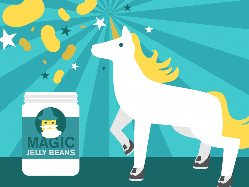 Benefits of motion graphics are that you can illustrate any concept whatsoever — even if it's magic jelly beans!